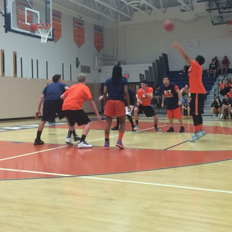 Students vs. staff b-ball game