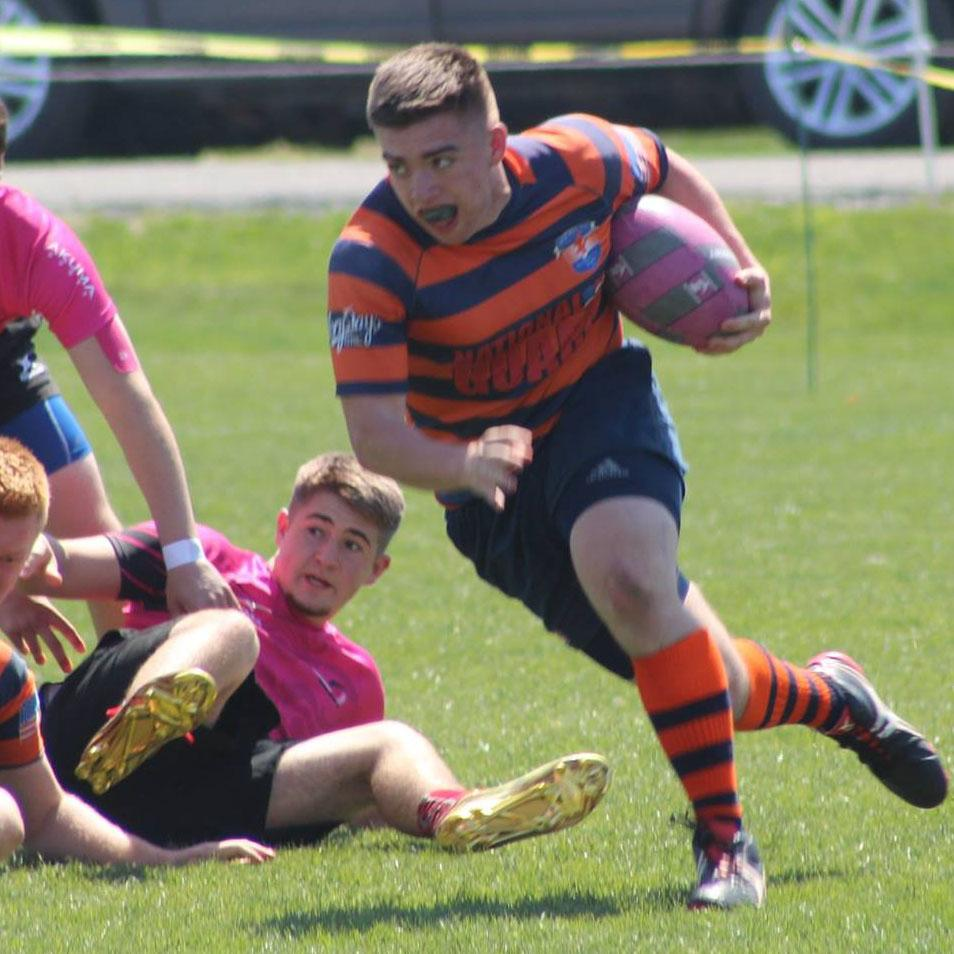 Senior Sean Rondeau in a West End Rugby game.  Rondeau has played for WS Football all four years and is entering his second season on West End.