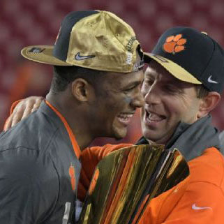 Clemson HC and QB Deshaun Watson finally celebrate a championship win after a bitter loss last year to Alabama.