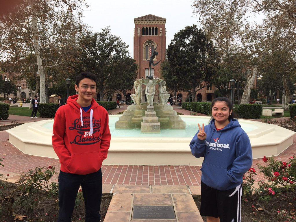 Stefanie Takenaka flashes a peace sign with her Japanese exchange student, Leo Muramatsu whem she took Muramatsu downtown to explore in Washington, DC.