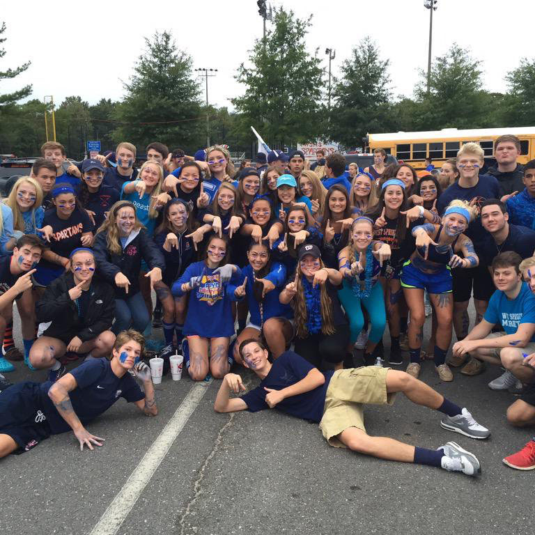 The Class of '17 shows their Spartan spirit at a football game.