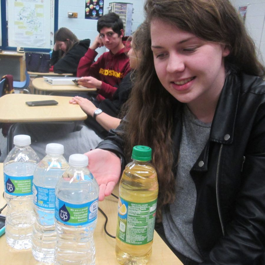 Sophomore+Sydney+Anderson+brings+multiple+water+bottles+to+school+becaue+she+does+not+trust+the+water+that+comes+out+of+the+school%E2%80%99s+water+fountains.+She+would+rather+carry+around+all+those+bottles+than+drink+the+school%E2%80%99s+water.