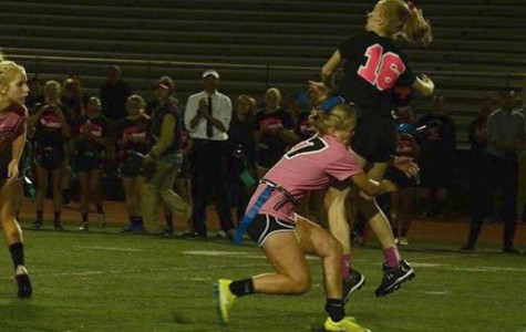 Senior Hailey Blankenship gets destroyed by an underclassman while playing in the Powderpuff game during Homecoming Week. The seniors were beat by juniors, and the sophomores got beat by the freshmen.