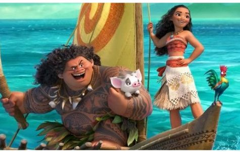 "Above is a picture of Moana and Maui on their adventure. Dwayne ""The Rock"" Johnson does the voiceover for Maui and Moana is done by Auli'i Cravvalho."