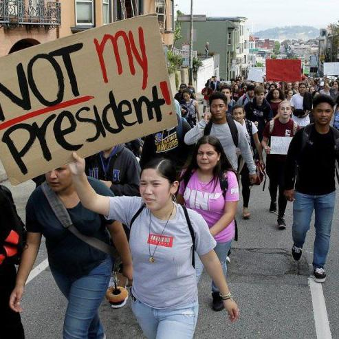 Citizens of Portland take to the streets protesting the election.  It goes to show  how much people disliked 2016.