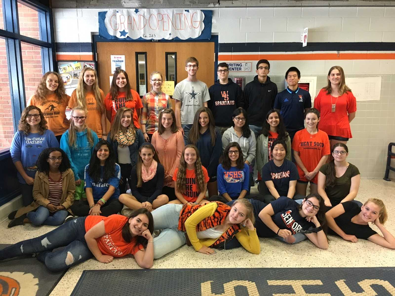 The current Writing Center focuses on helping other students with their writing pieces for English and other classes. Next year, the Writing Center will become the Peer Tutoring Center and will cater to all subject areas. Pictured above is this year's Writing Center staff posing