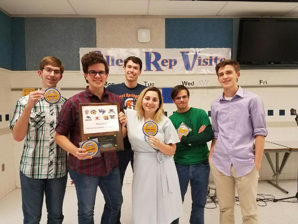 The WS Scholastic Bowl team at the Patriot Conference Championship this past January. The team competes against schools in answering general knowledge questions. All the questions that are asked are all random, so for the team it can be difficult because you can never be one hundred percent prepared. To be as ready as possible, the team reviews old question sets.