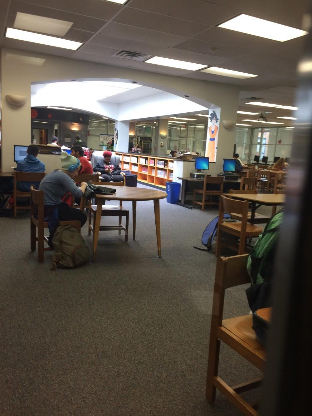 Students choose to spend time doing things in the libary such as, looking at social media on their phones, doing homework for the next class they are going too, or catching up on some well needed sleep.