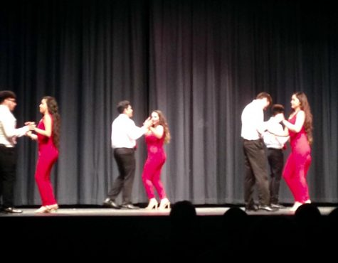 "he Hispanic Heritage Club performs their dance sequence, titled ""El Sabor Latino."""