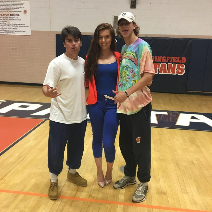 WS juniors Jackson Popeck and Jackson Davis pose with  Bennett after her anti-bullying presentation earlier this school year.