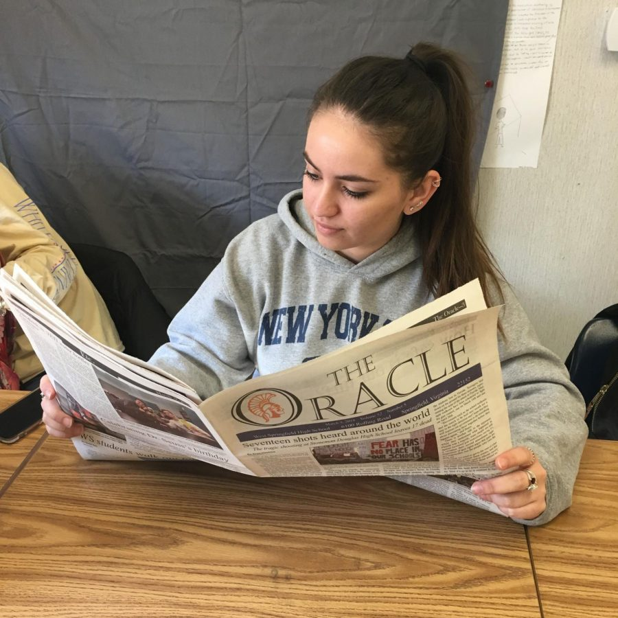 Senior Megan McMahon enjoys reading the March 2018 issue of the Oracle, as do many other WS Spartans. The Oracle is a monthly publication here at WS, and our staff works around the clock to put each issue together before deadline. We sometimes encounter roadblocks along the way, but when the issues gets finished, we are always happy to share it with the school.