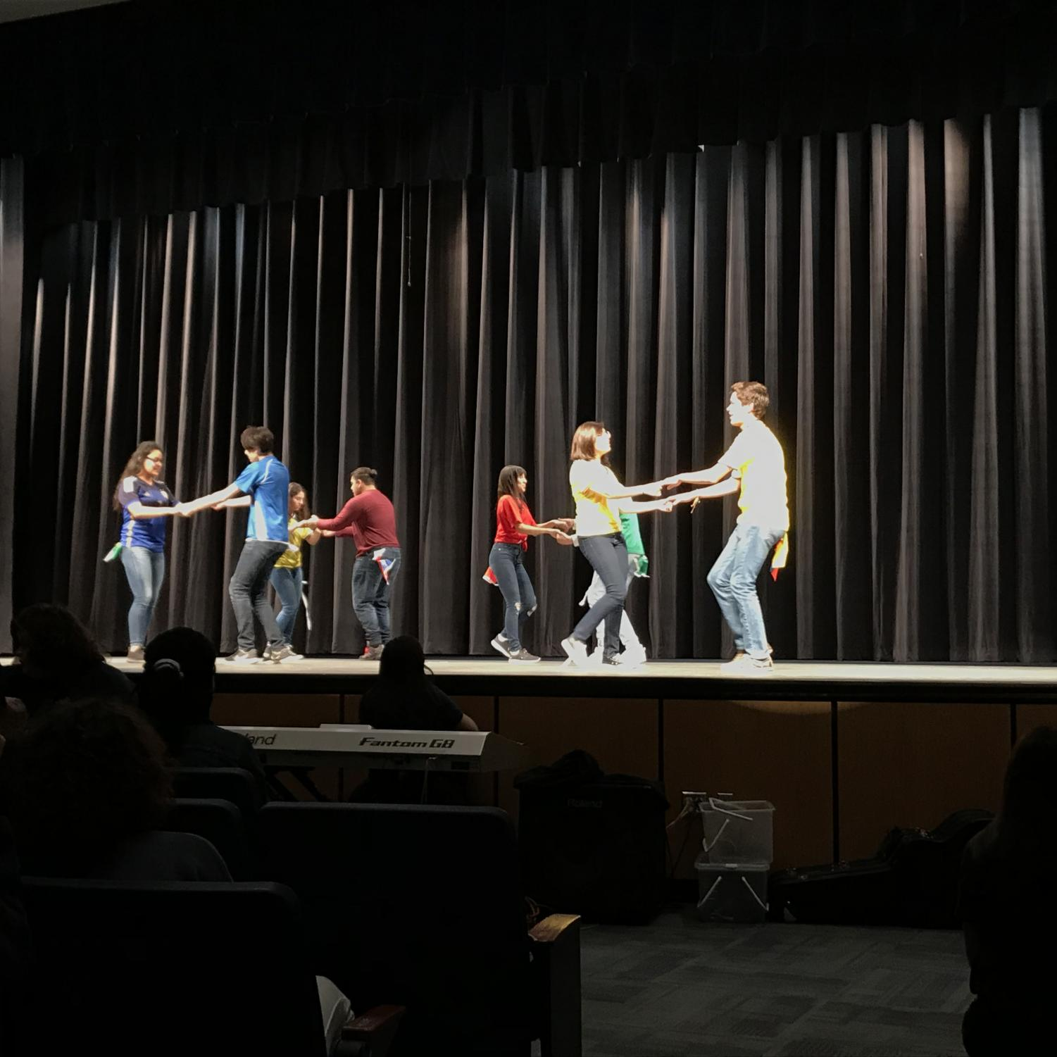 The Hispanic Heritage Club performed a cultural dance at the spring pep rally on April 6th.