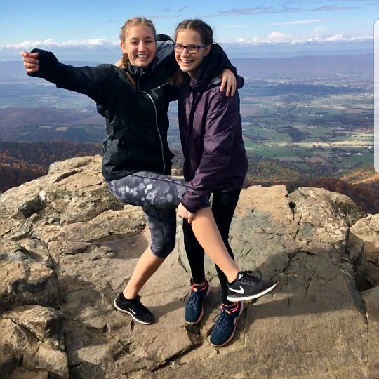 Senior Sarah Veenstra on a hike with her German exchange student. Veenstra plans to her gap year to satisfy her love of travel