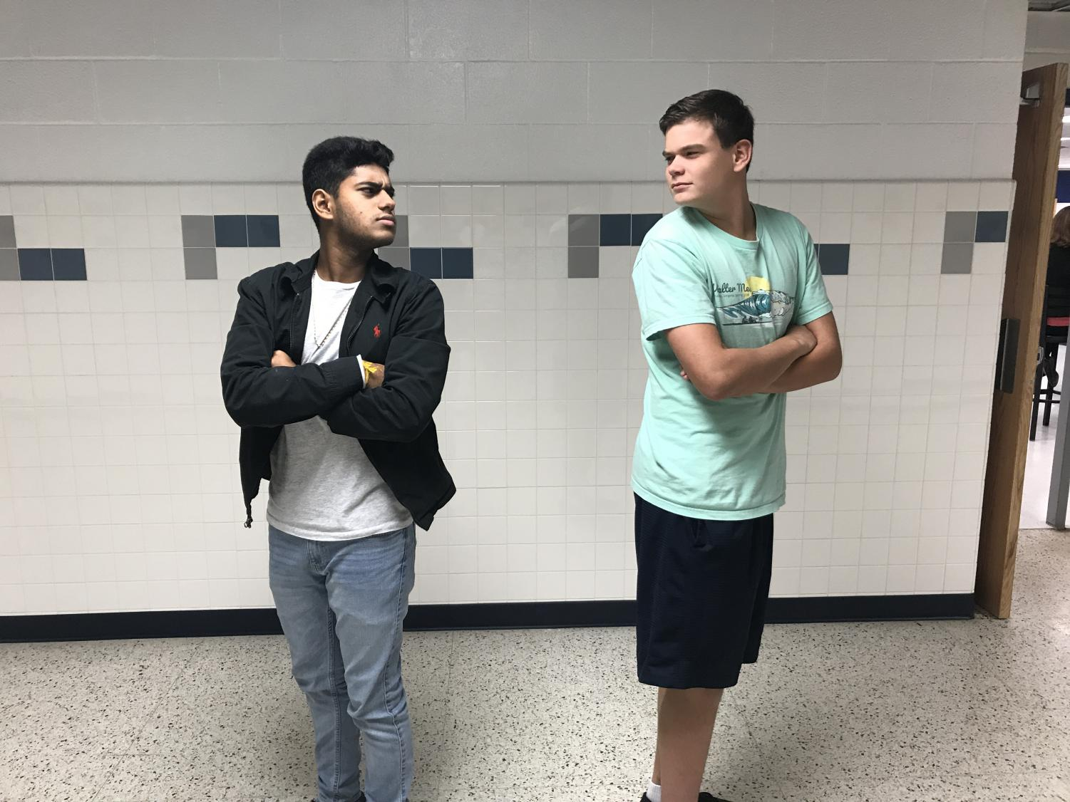 Juniors Ryan Metz and Tanvir Singh use their Hollywood-level acting to demonstrate the body language of uncuffers who do not want to be in a relationship.