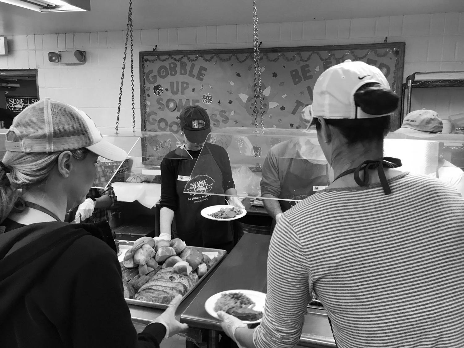 Volunteers at SOME serve breakfast from 6:30 - 9:30 and lunch from 10:15 - 1:15. They typically serve over a hundred individuals in the DC area who are experiencing poverty.
