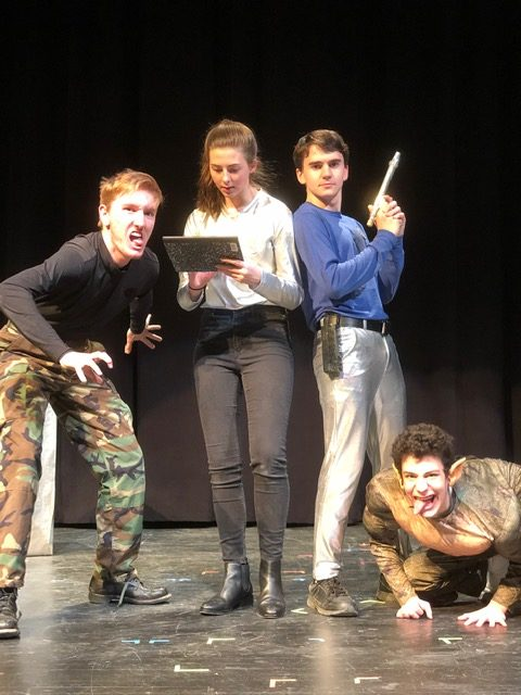 Drama+students+Steven+Sayers%2C+Kathryn+Wevley%2C+Charlie%2C+and+Peter+Dasher+appear+in+%22Martians+and+Missiles%2C%22+written+by+Haleigh+Morris+and+directed+by+Agape+Emmanuel.+