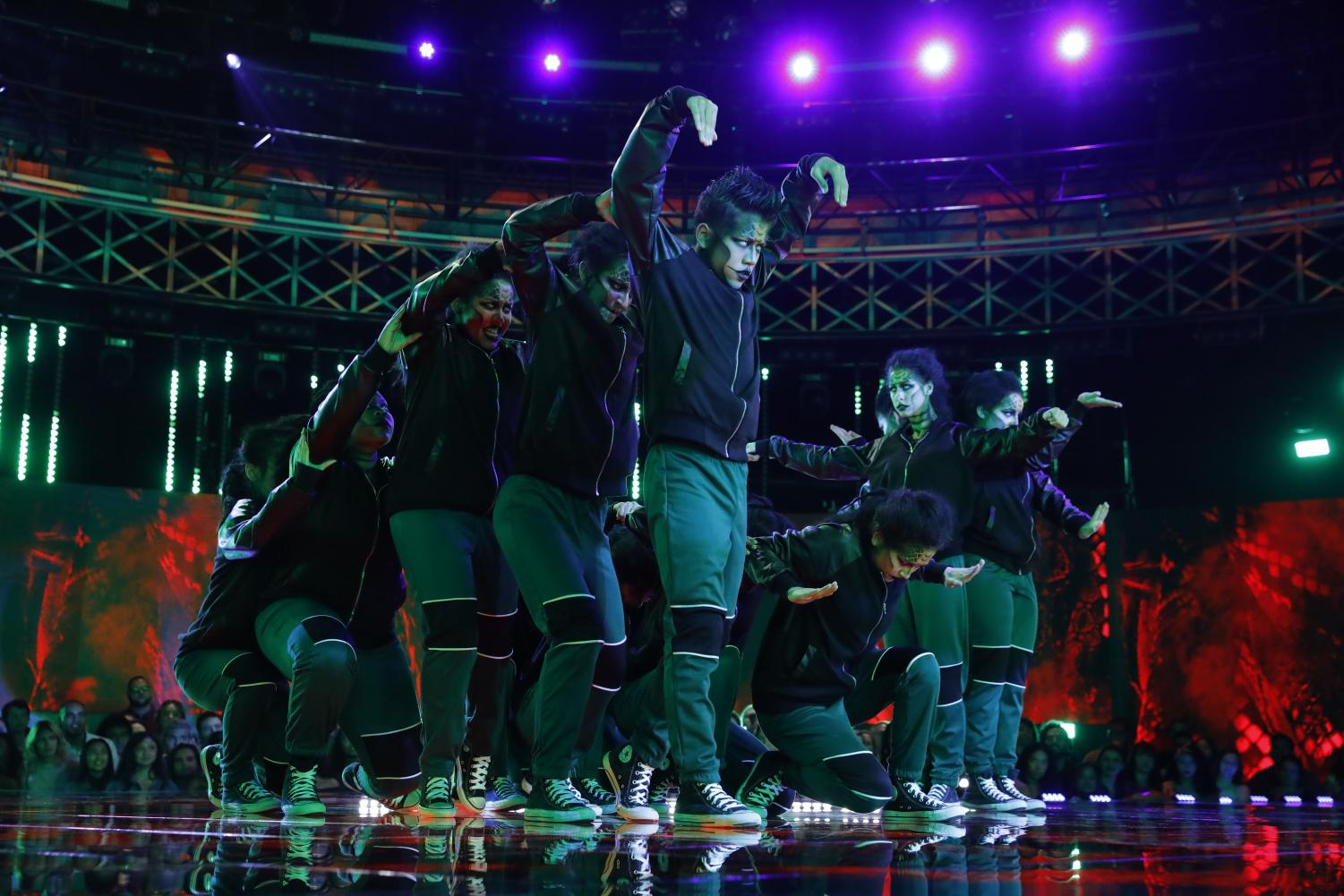 Members of the West Springfield Dance Team perform on World of Dance, an NBC competition dance show. Their appearance was the culmination of months of work, and their advancement to the next level was particularly notable as they were one of the first public high school dance teams on the show.