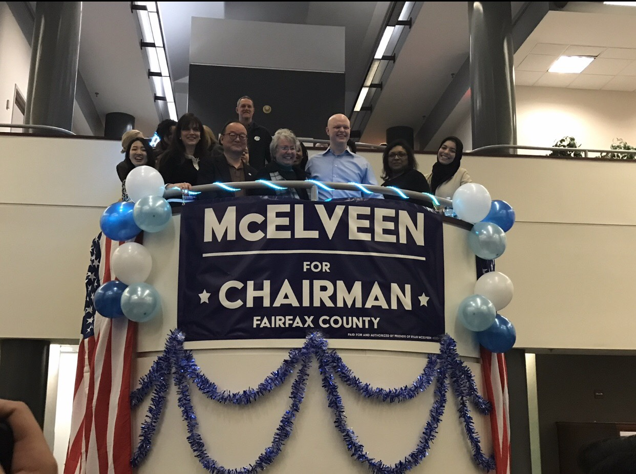 McElveen at his campaign kick off. In this photo he is standing alongside current members of the school board as well as candidates running for a position on the board.
