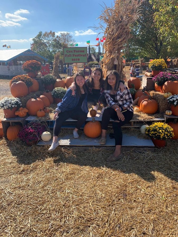 Seniors+Jaida+Garcia%2C+Sarah+Johnson%2C+and+Aaliyah+Neary+pick+pumpkins+as+they+enjoy+a+day+at+Cox+Farms.+Cox+Farms+is+a+popular+autumn+attraction+for+people+of+all+ages.+While+these+high+school+students+pose+for+a+picture+around+the+scarecrows+and+pumpkins%2C+families+with+young+children%2C+senior+citizens%2C+and+adults+have+been+known+to+take+day+trips+to+Cox+Farms+to+enjoy+what+it+has+to+offer.+In+the+day+time%2C+Cox+Farms+has+food+and+games+that+radiate+fall+fun%2C+while+at+night+this+once+sunny%2C+happy+farm+turns+into+one+of+the+scariest+haunted+farm+attractions+in+the+area.++