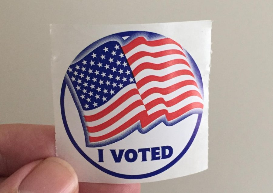 """The famous """"I voted"""" sticker was received by voters on November 5th when they took part in the local election and voted. Voting polls were set up in schools and public places."""