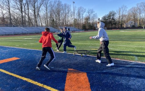 Four Spartans battle in a frigid game of Spikeball in Jaunary. Depsite the below-freezing conditions, the Spikeball club continued to be a hit throughout the month, with meetings continuing twice a week.