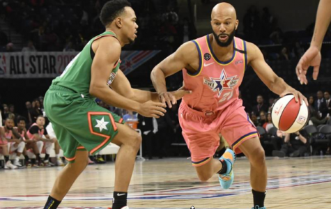 Common drives into the lane during February 14th's Celebrity All-Star game. The rapper and recording artist took home MVP honors for his 10 point, 5 rebound, and 4 steal performance in which he led Team Wilbon to the 62-47 win over Team Stephen A.