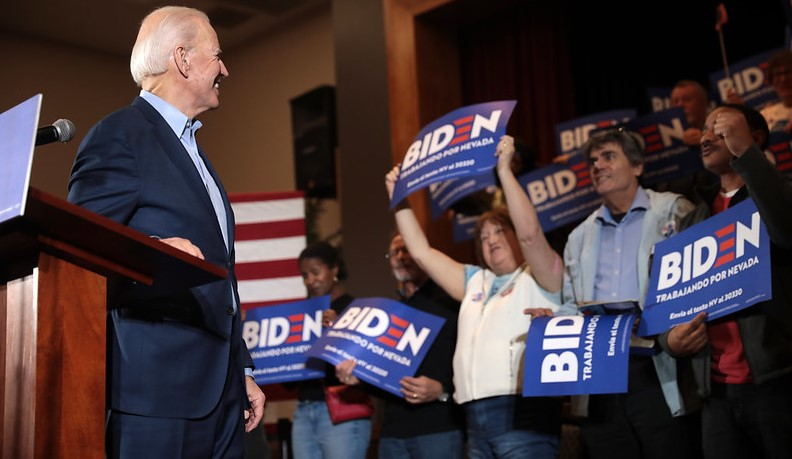 Former+Vice+President+Joe+Biden+smiles+at+supporters+during+a+campaign+event+before+the+Nevada+Caucuses+on+February+22nd.+Biden+did+poorly+compared+to+Senator+Sanders+in+Nevada%2C+but+he+rebounded+nicely+and+took+the+lead+on+Super+Tuesday.