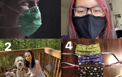 1. U.S. Air Force Staff Sgt. Coleman Crowell wears a disposable mask with a mustache drawn on it as he works in water and fuel maintenance at the Pharr Event Center in Texas. 2. Senior Isa Nothom wears her sunflower printed mask as she poses for at home prom pictures with her dogs Karen (center) and Buster (left). 3. Sophomore Jasmine Bui sports her black cloth mask as part of her quarantine fit. The mask is washable and practical for afternoon walks through the neighborhood. 4. Junior Lizzy Breckenridge shows off a sample of her homemade masks that she donates to anyone who needs them. Mask making is a fun and useful activity anyone can do safely while in quarantine.