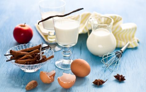 Ingredients that can be commonly found in the kitchen, such as eggs and milk, which are often essential for desserts.