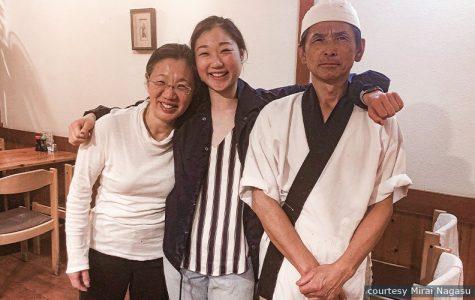 Figure skater Mirai Nagasu poses with her parents at their family restaurant, Sushi Kiyosuzu, amidst the pandemic.