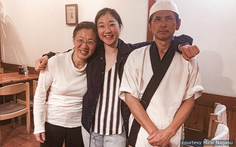 Figure skater Mirai Nagasu poses with her parents at their family restaurant, Sushi Kiyosuzu, amidst the pandemic.