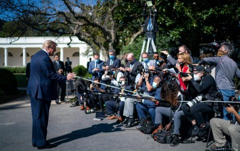 President Trump addresses the media before leaving for Maryland on Tuesday.