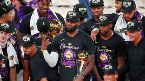 Lebron James and the 2020 Los Angeles Lakers celebrated the franchise's first title since 2010, which was Kobe Bryant's final championship.