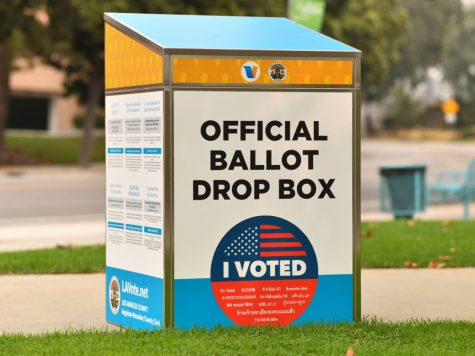 An official ballot drop box is set up in Los Angeles on September 12, 2020, ahead of the November 3 presidential elections.