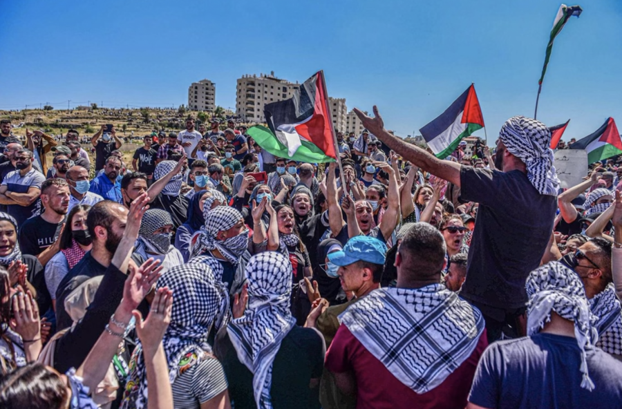 Protests in the city of Ramallah in the West Bank show thousands have gathered to demonstrate against Israel's longstanding oppression of Palestinians.